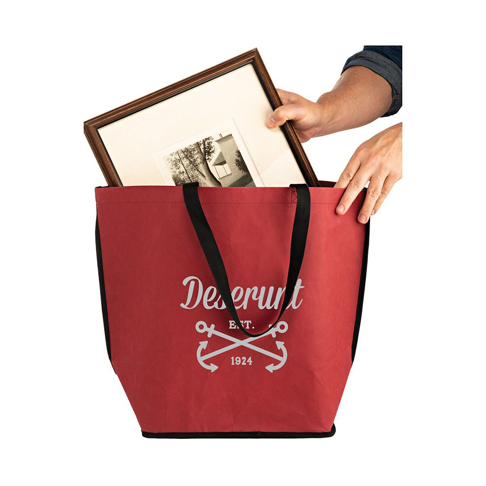 Washable Kraft Paper Oversize Tote Bag With Contoured Bottom Corners - Personalization Available