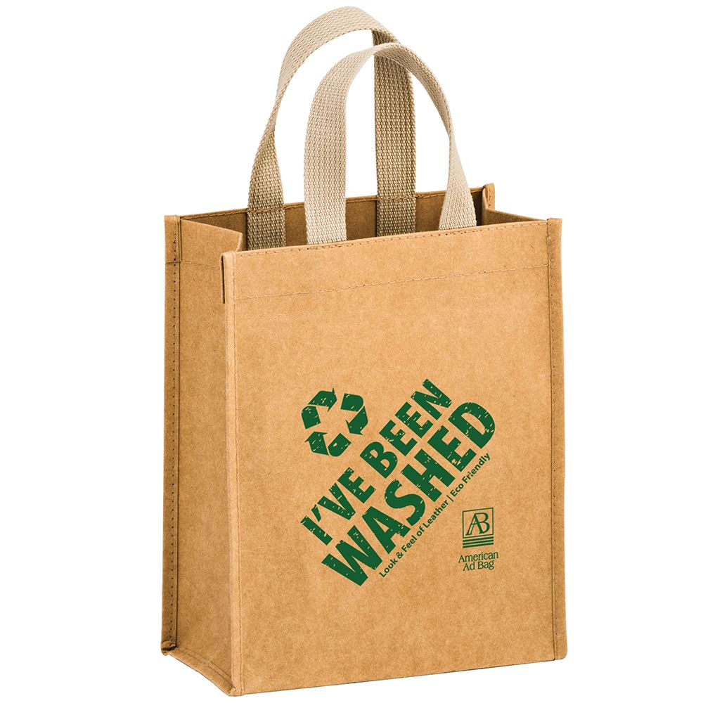 Cyclone Washable Kraft Paper Tote Bag With Web Handle - Personalization Available