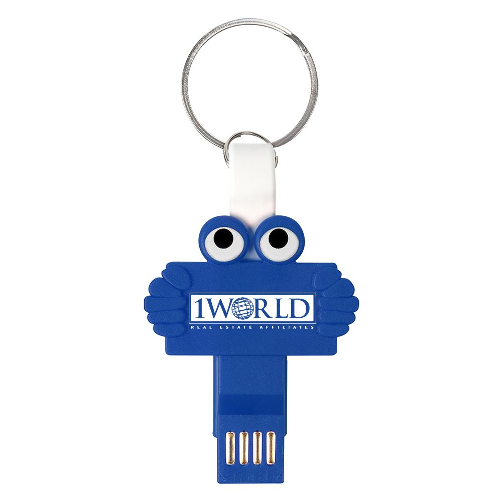 Clipster Buddy 3-In-1 Charging Cable Key Ring - Personalization Available
