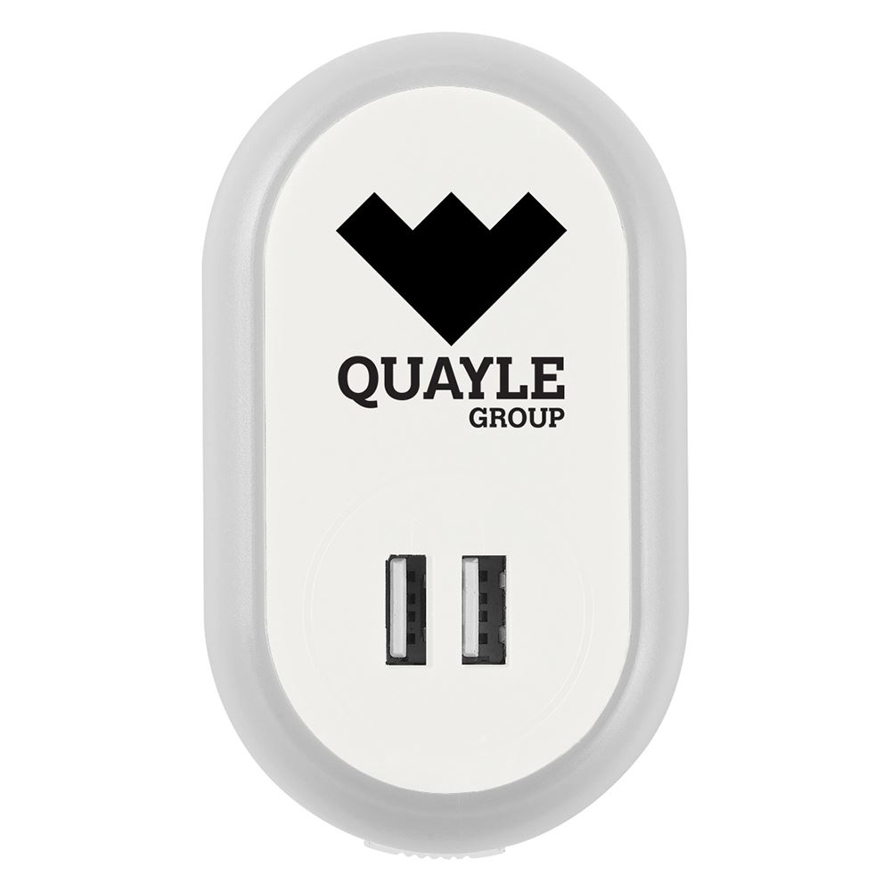UL® Listed Nightlight A/C Adapter With Dual USB Ports - Personalization Available