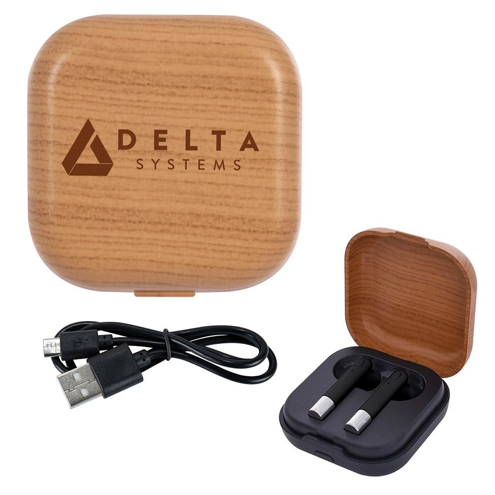 Wireless Earbuds & Woodtone Charging Base - Personalization Available