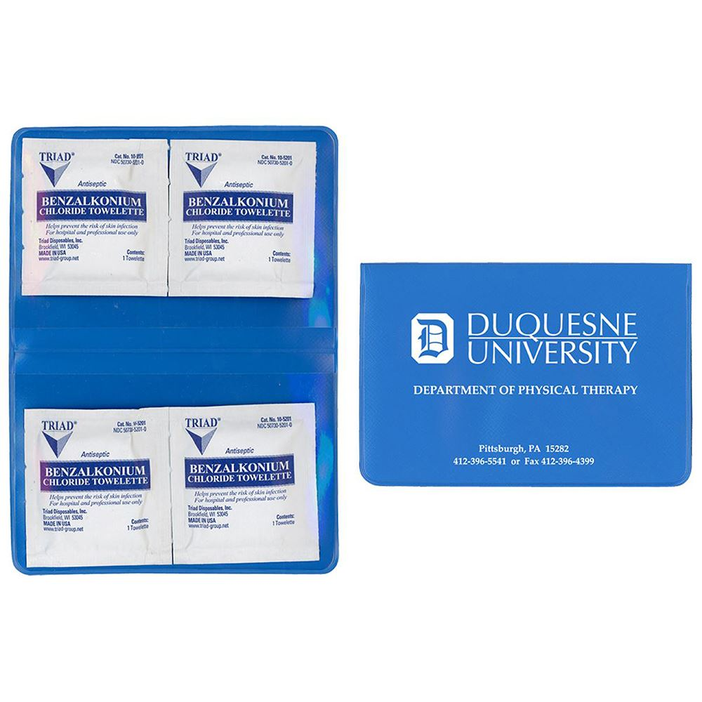Hand Sanitizer BZK Towelette Kit - Personalization Available