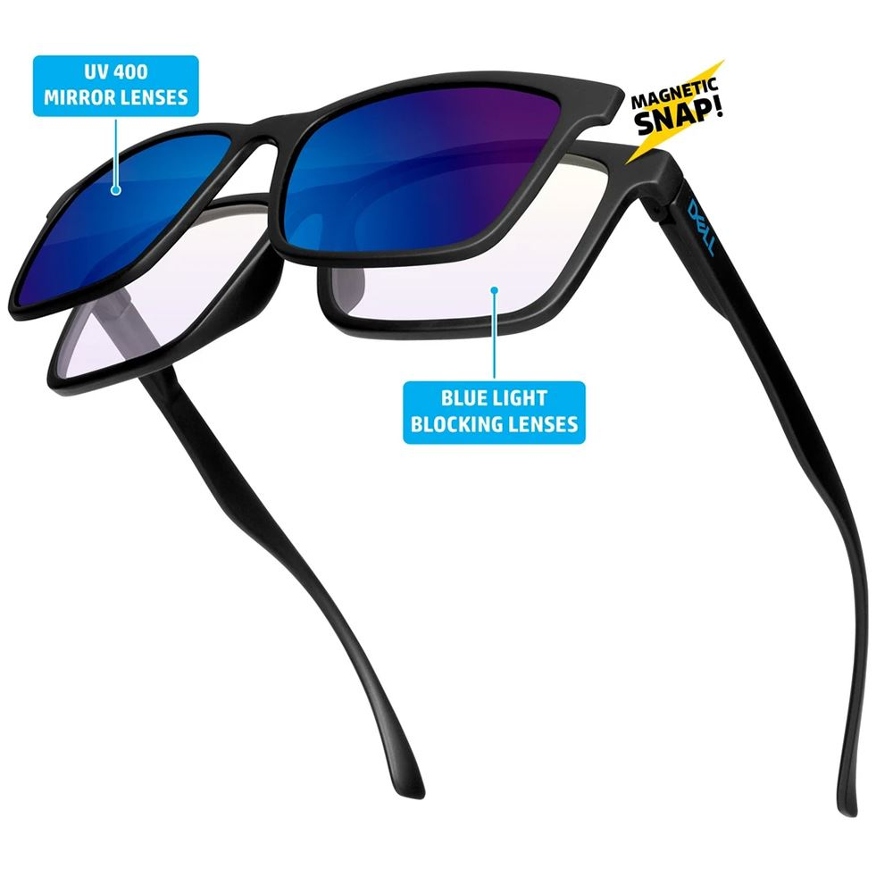 2-in-1 Blue Light Blocking Glasses with UV Mirrored Snap On Magnetic Lens