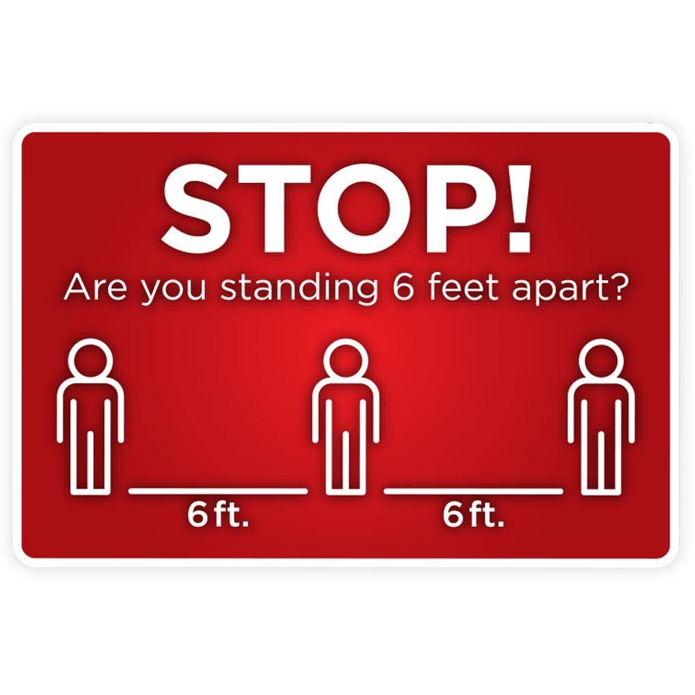 """Six Feet Apart 12"""" X 18"""" Horizontal Sign"""