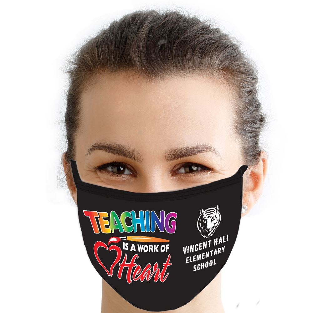 Teaching Is A Work Of Heart American Made 3-Ply Mask - Personalization Available
