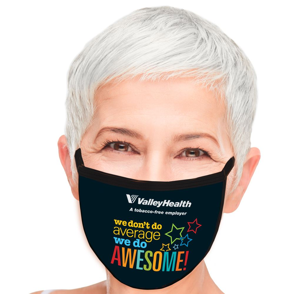 We Don't Do Average, We Do Awesome American Made 3-Ply Face Mask - Personalization Available