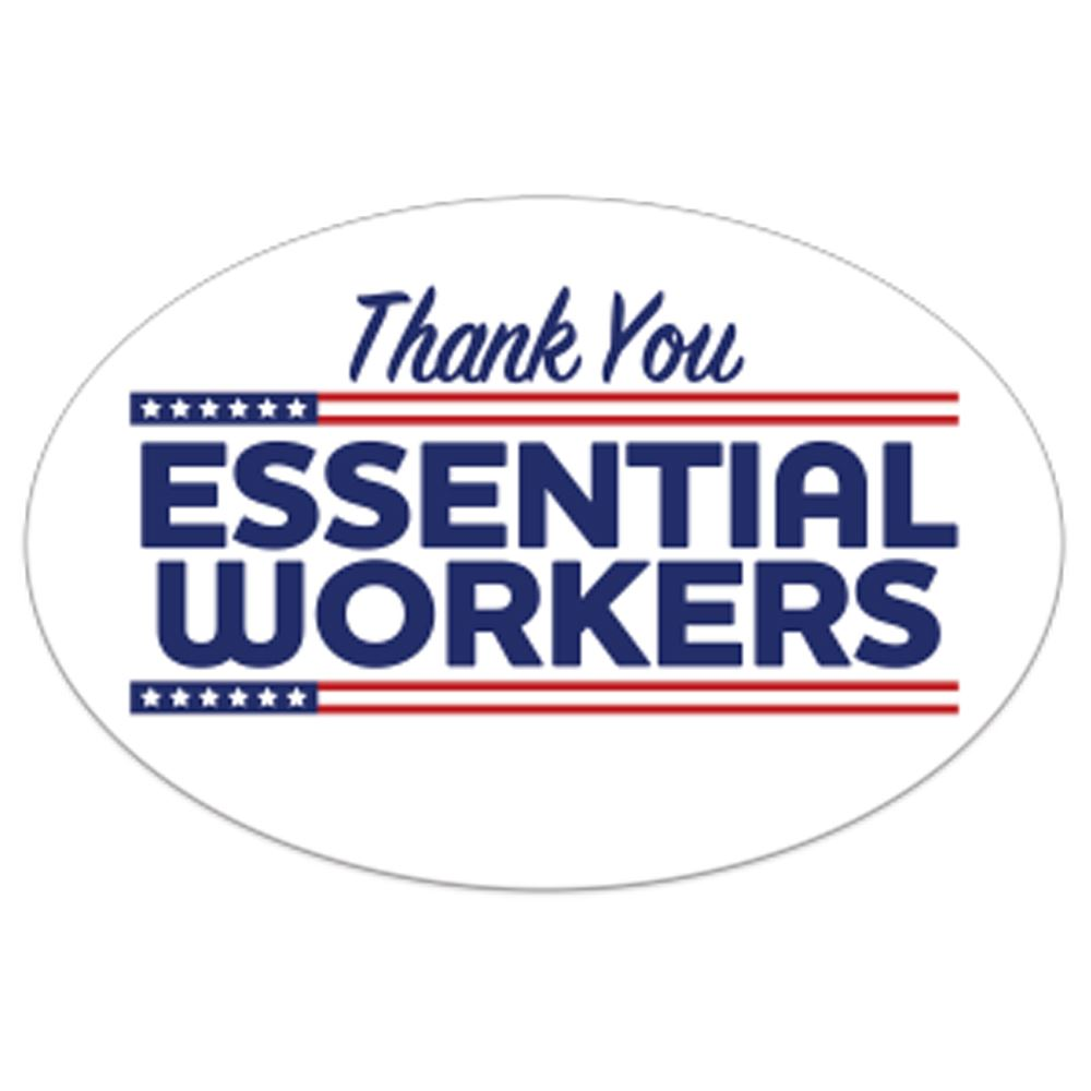 Thank You Essential Workers Bumper Sticker - Oval