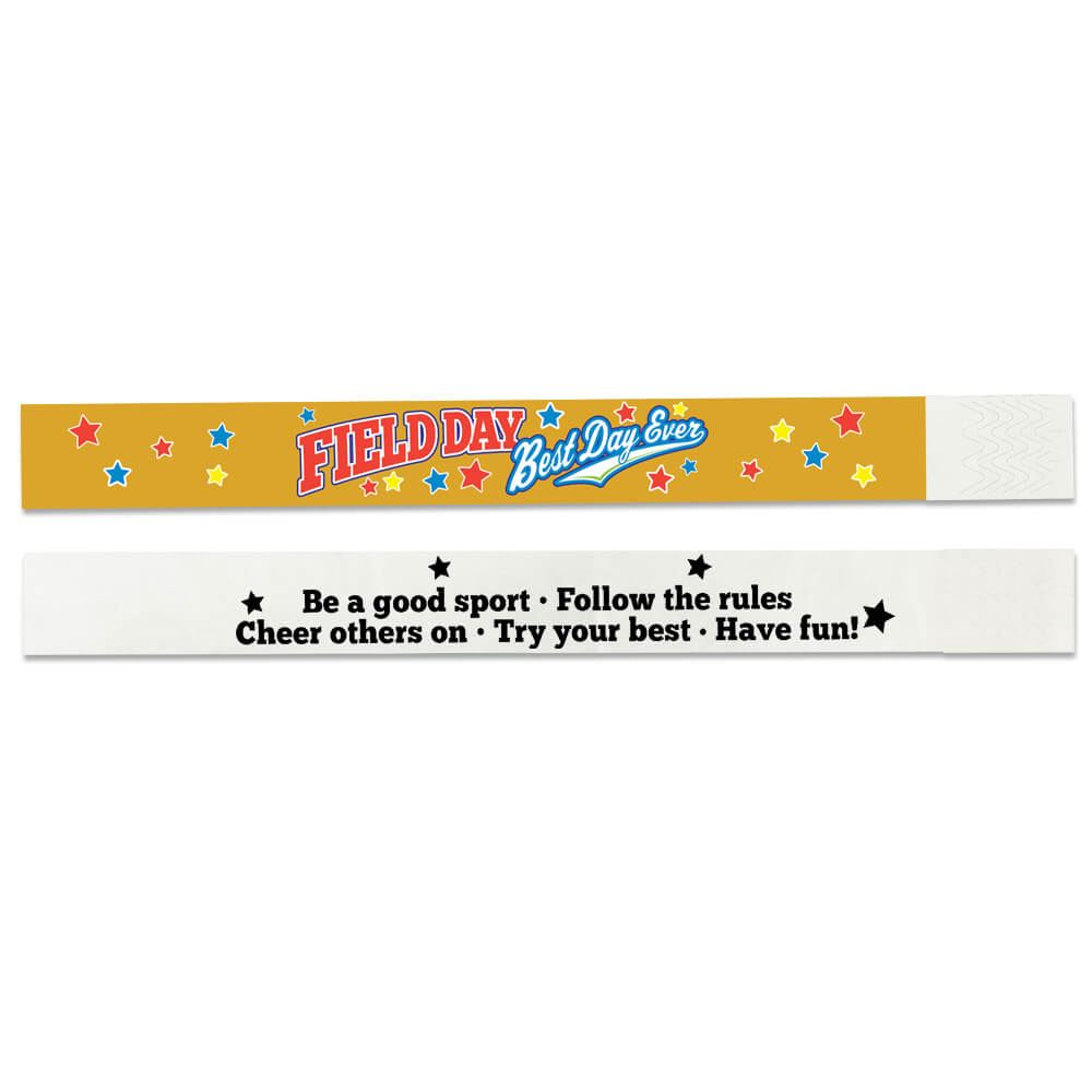 Field Day: Best Day Ever 2-Sided Gold Paper Bracelets - Pack of 100