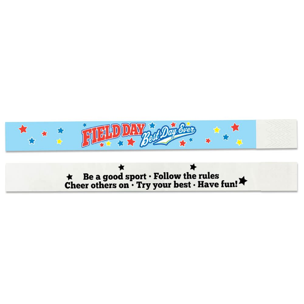 Field Day: Best Day Ever 2-Sided Light Blue Paper Bracelets - Pack of 100