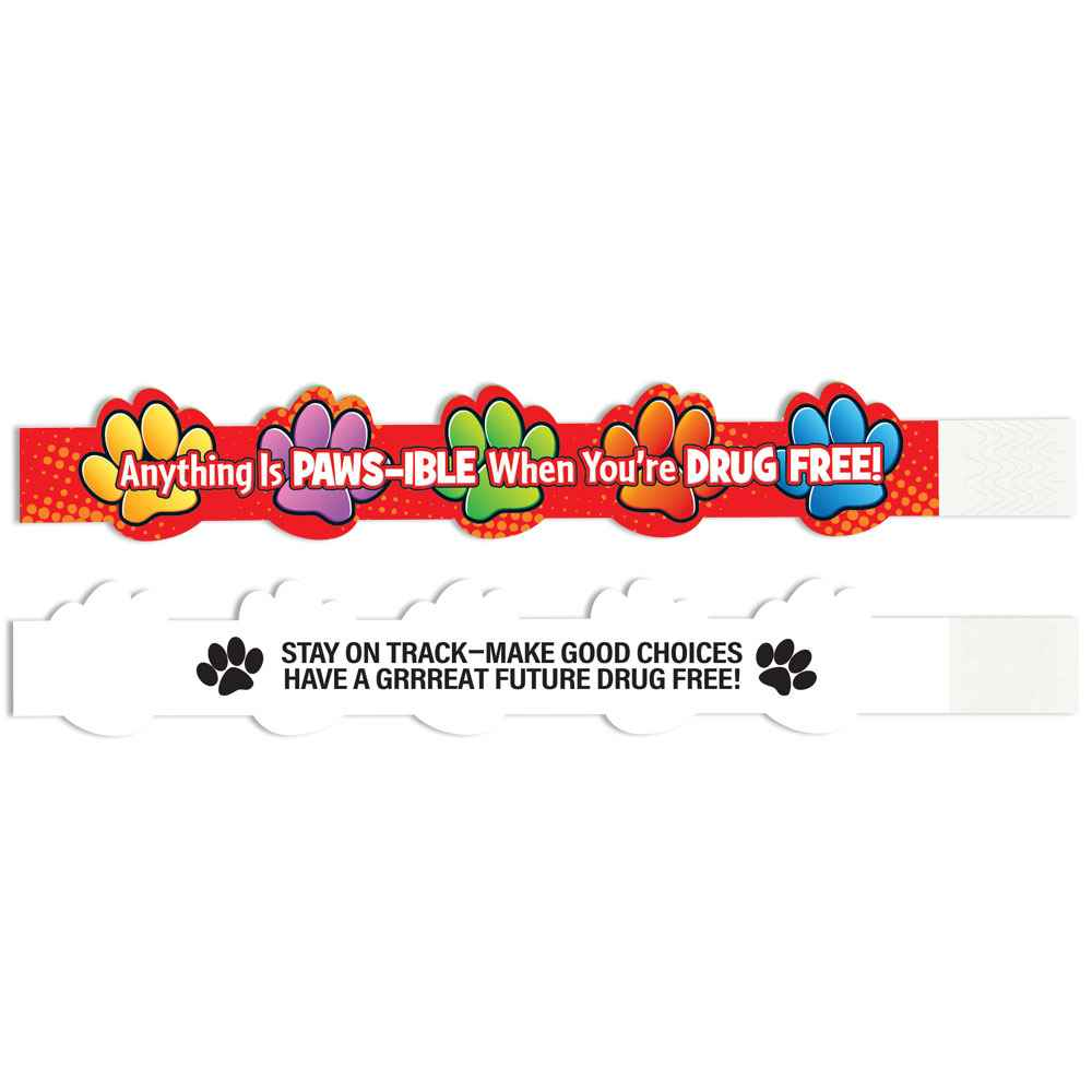 Anything Is Paws-ible When You're Drug Free 2-Sided Paper Bracelet