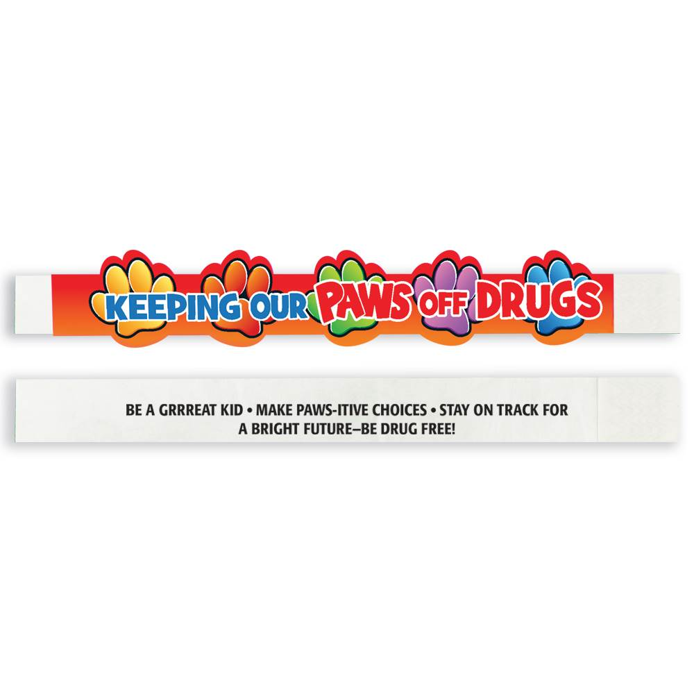 Keeping Our Paws Off Drugs 2-Sided Paper Bracelets - Pack of 100