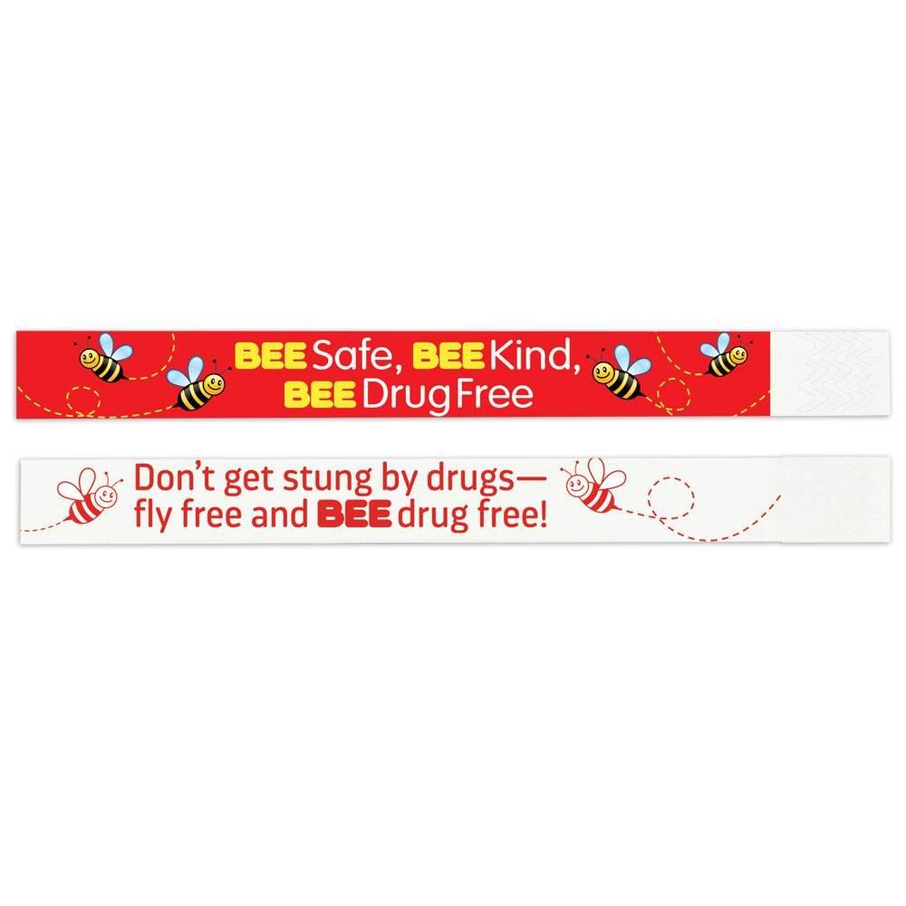 BEE Safe, BEE Kind, BEE Drug Free 2-Sided Paper Bracelets - Pack of 100