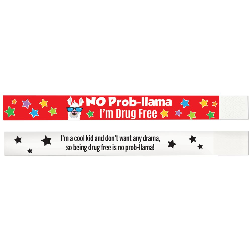 No Prob-llama: I'm Drug Free 2-Sided Paper Bracelet - Pack of 100