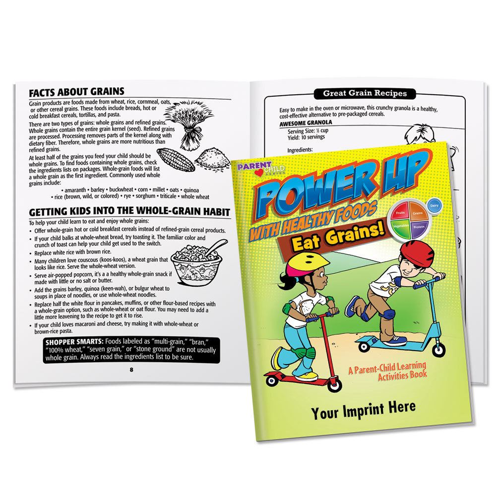 Power Up With Healthy Foods Eat Grains! Learning Activities Book - Personalization Available