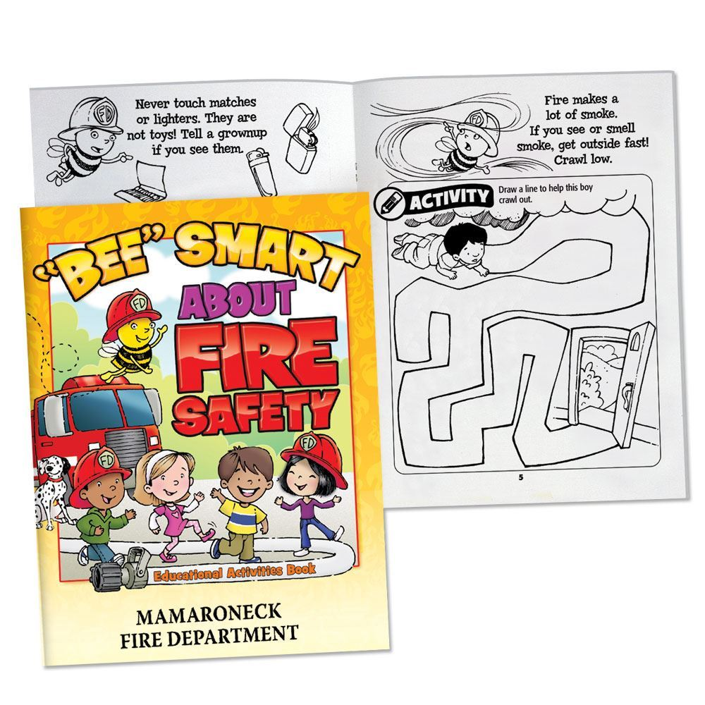 """""""BEE"""" Smart About Fire Safety Educational Activities Book - Personalization Available"""