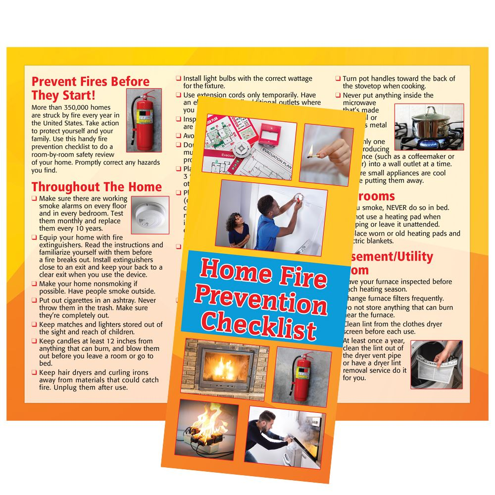Home Fire Prevention Checklist Brochure - Personalization Available