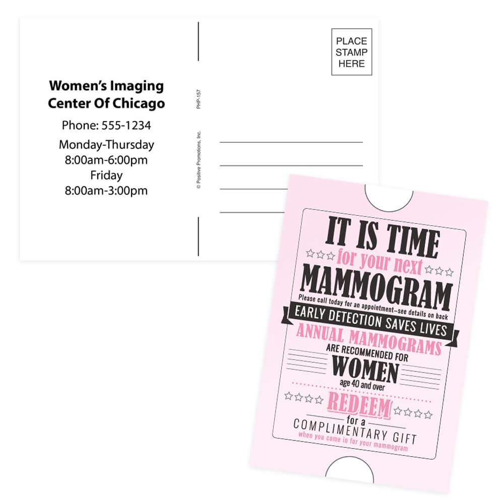 Mammogram Reminder Postcard - Personalization Avaialble