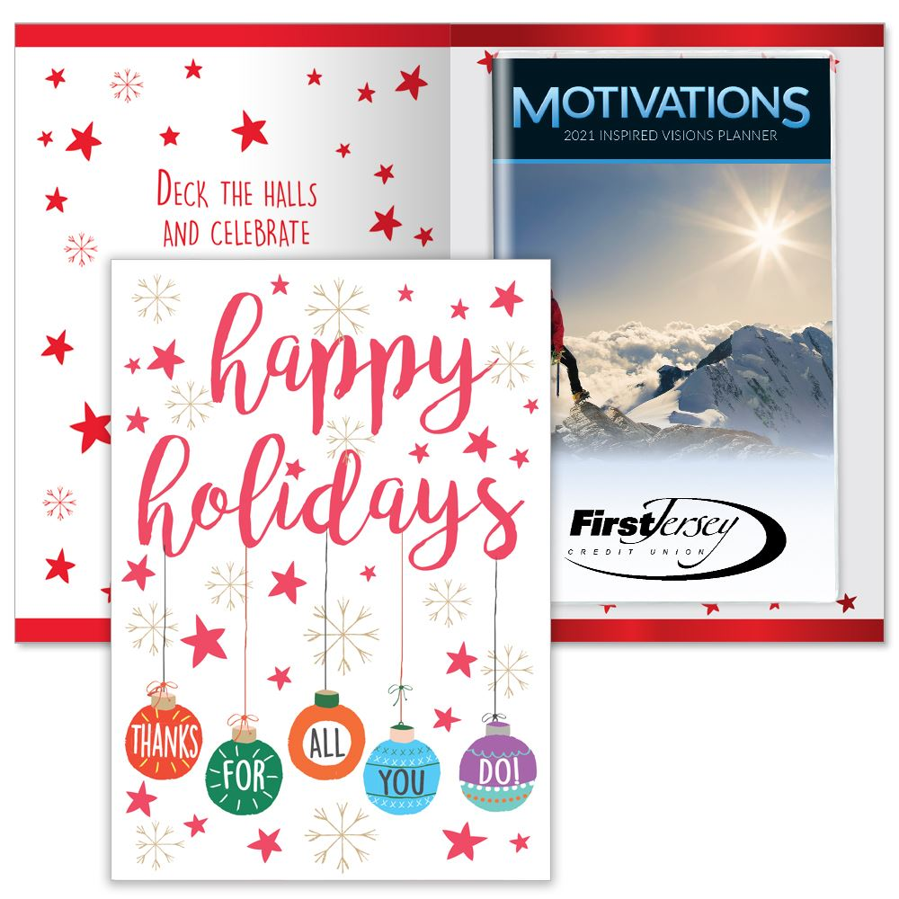 Happy Holidays Thanks For All You Do Greeting Card With 2021 Motivations Planner - Personalization Available