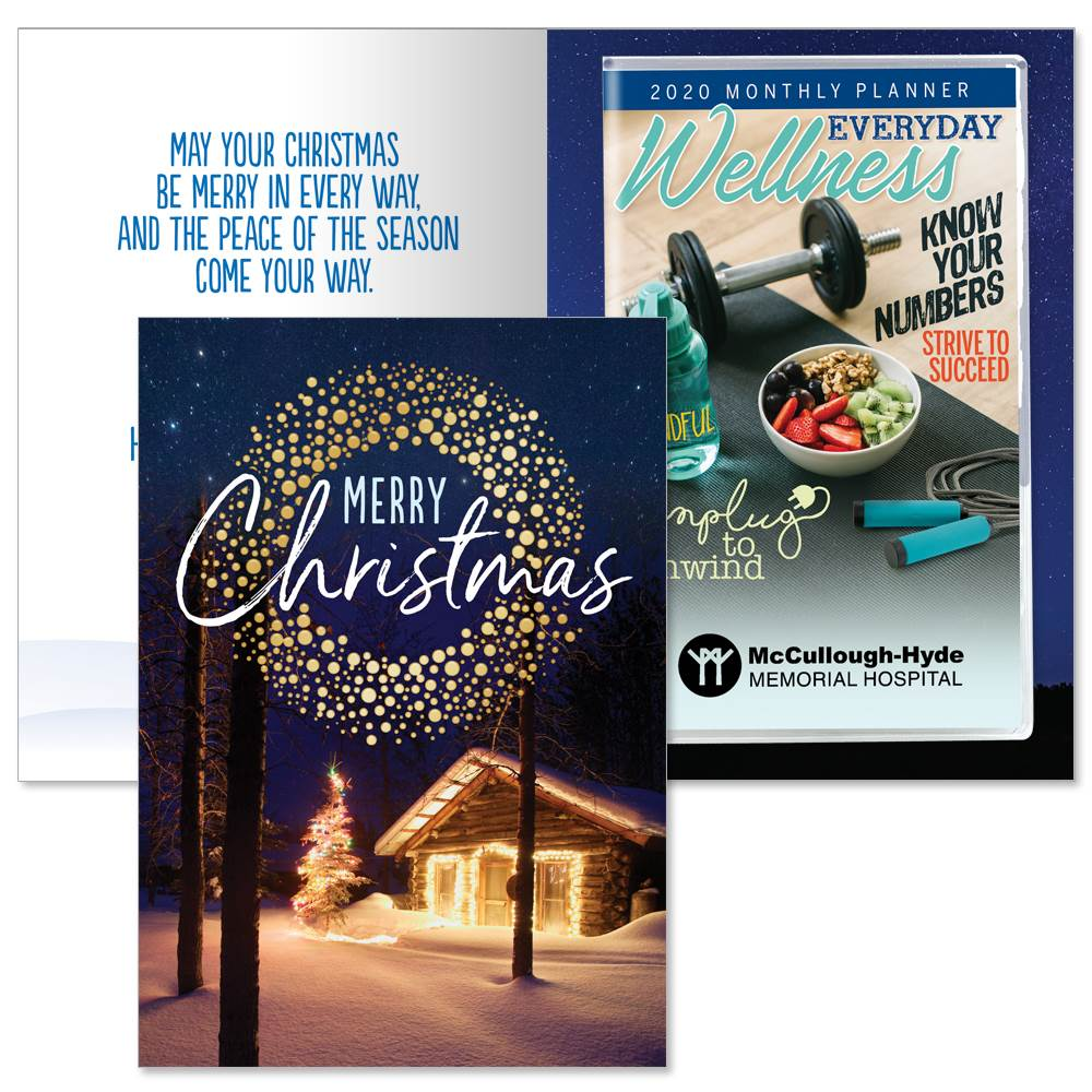 Merry Christmas Greeting Card With 2020 Everyday Wellness Planner - Personalization Available