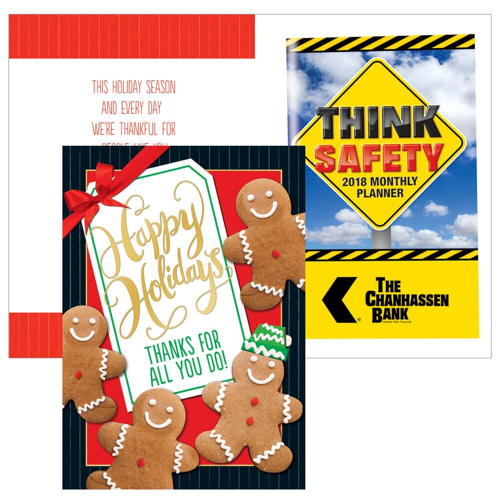 Custom holiday cards personalized cards positive promotions happy holidays thanks for all you do greeting card with 2019 think safety planner kristyandbryce Gallery