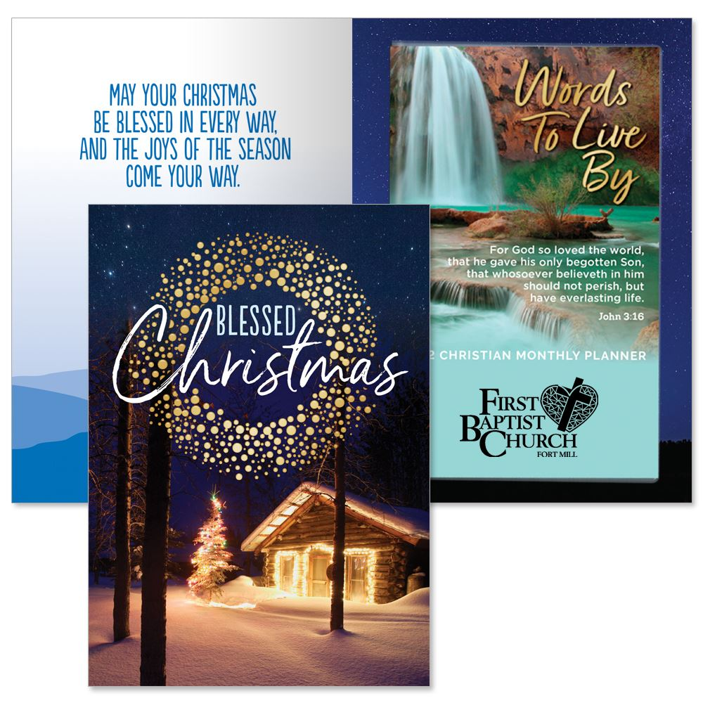 Blessed Christmas Greeting Card With 2021 Words To Live By Scenic Lake Gift Set - Personalization Available