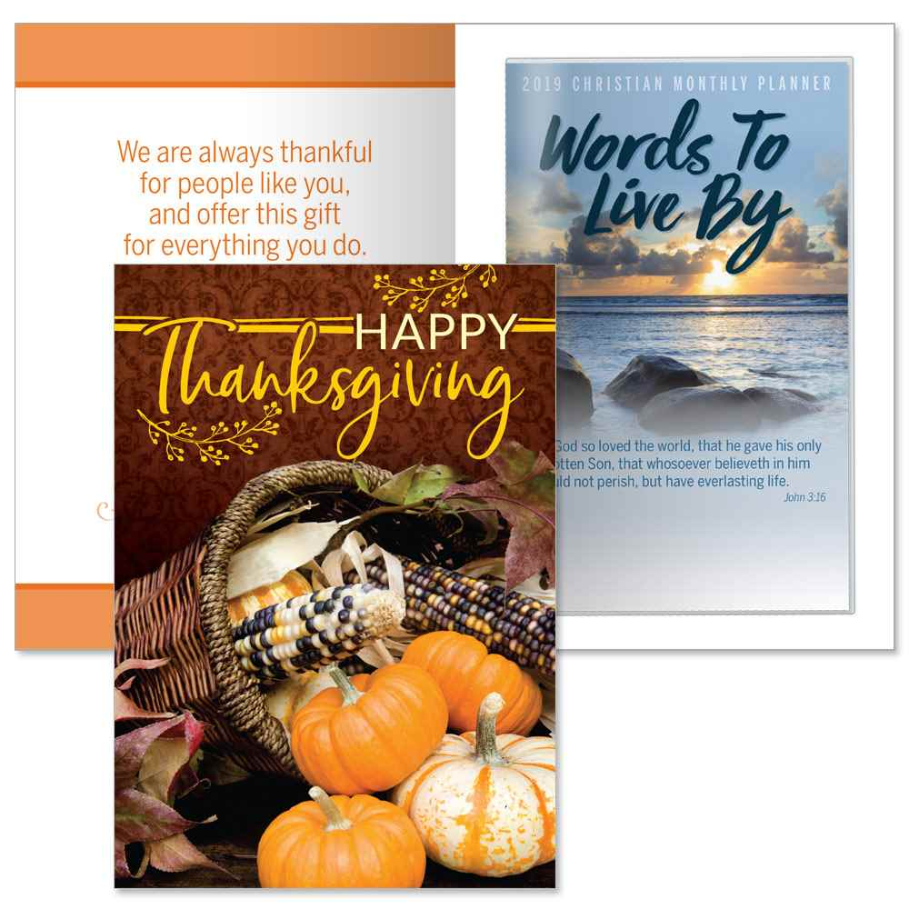 Happy Thanksgiving Greeting Card With 2019 Words To Live By Planner