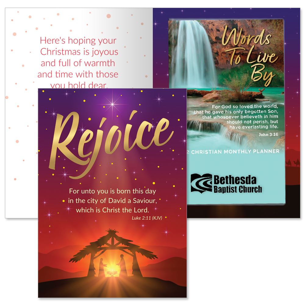 Rejoice Greeting Card and 2022 Words To Live By Scenic Waterfall Planner Gift Set - Personalization Available