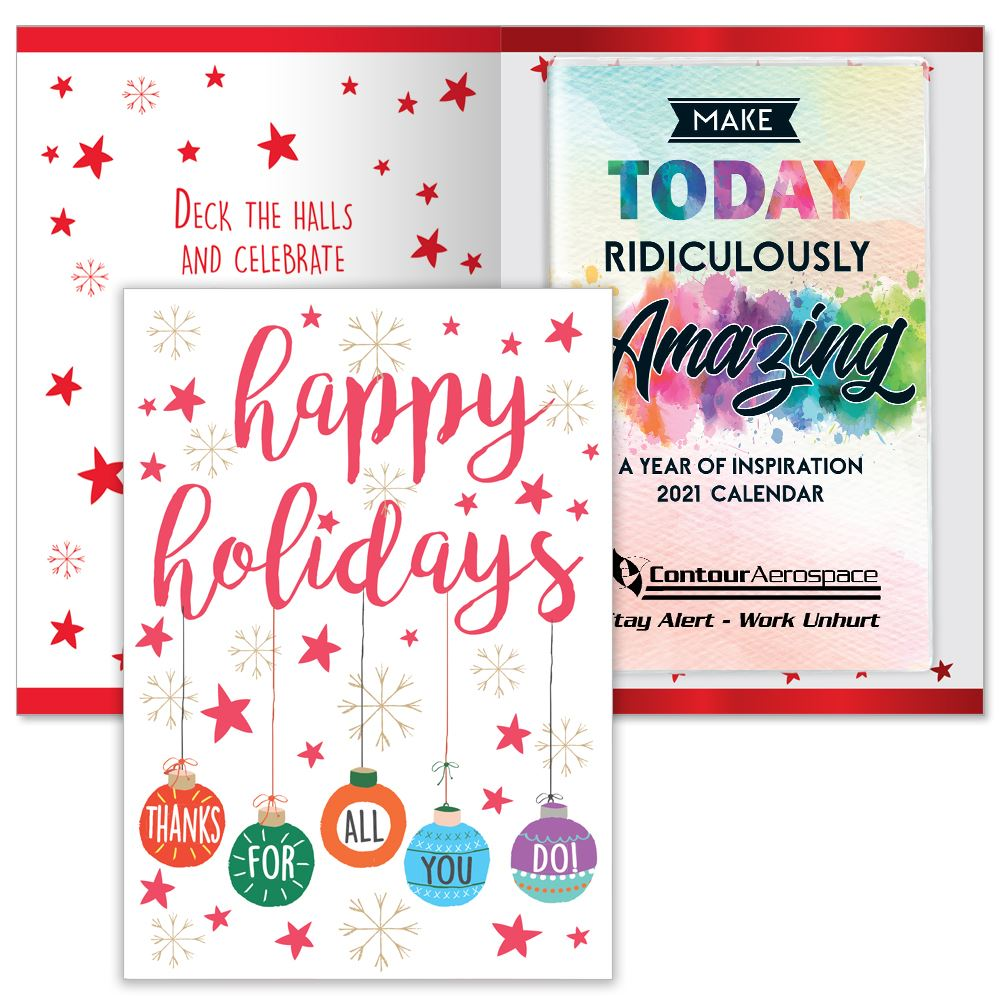 Happy Holidays Thanks For All You Do Greeting Card With 2021 Make Today Ridiculously Amazing Planner - Personalization Available