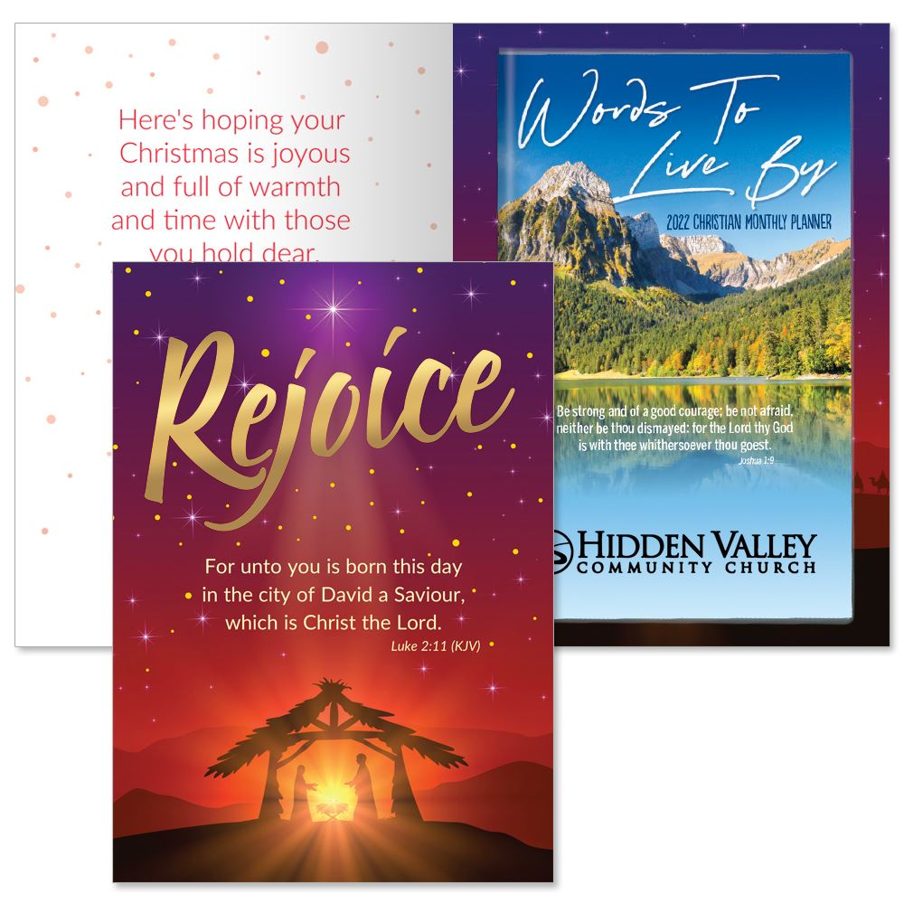 Rejoice Greeting Card and 2022 Words To Live By Mountain Top View Planner Gift Set - Personalization Available