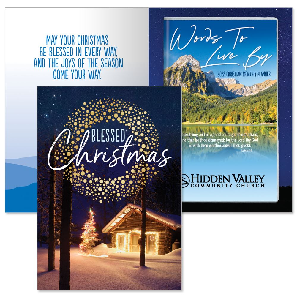 Blessed Christmas Greeting Card and 2022 Words To Live By Mountain Top View Gift Set - Personalization Available