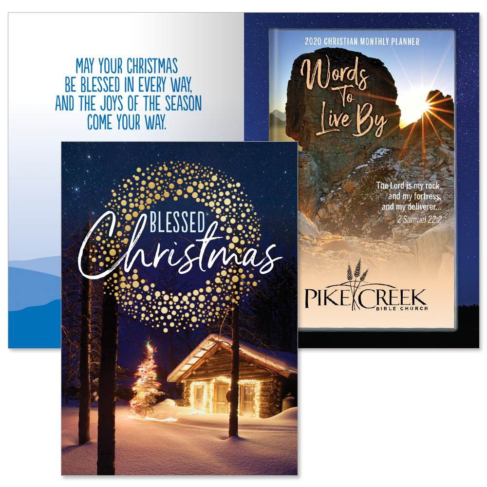 Blessed Christmas Greeting Card With 2020 Words To Live By Rock Fortress Planner (2 Samuel 22:2) Gift Set - Personalization Available