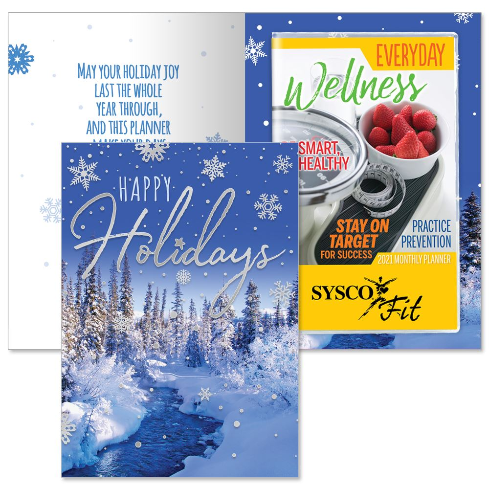 Happy Holidays Snowflakes Greeting Card With 2021 Everyday Wellness Planner - Personalization Available