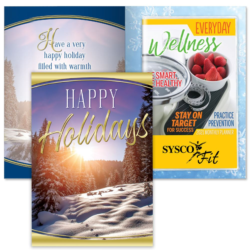 Happy Holidays Snowscape Greeting Card With 2021 Everyday Wellness Planner - Personalization Available