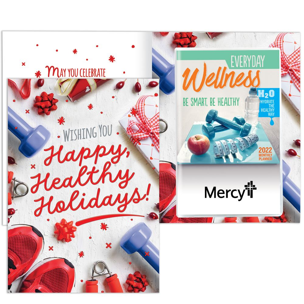 Happy, Healthy Holidays! Greeting Card With Everyday Wellness Monthly Planner - Personalization Available