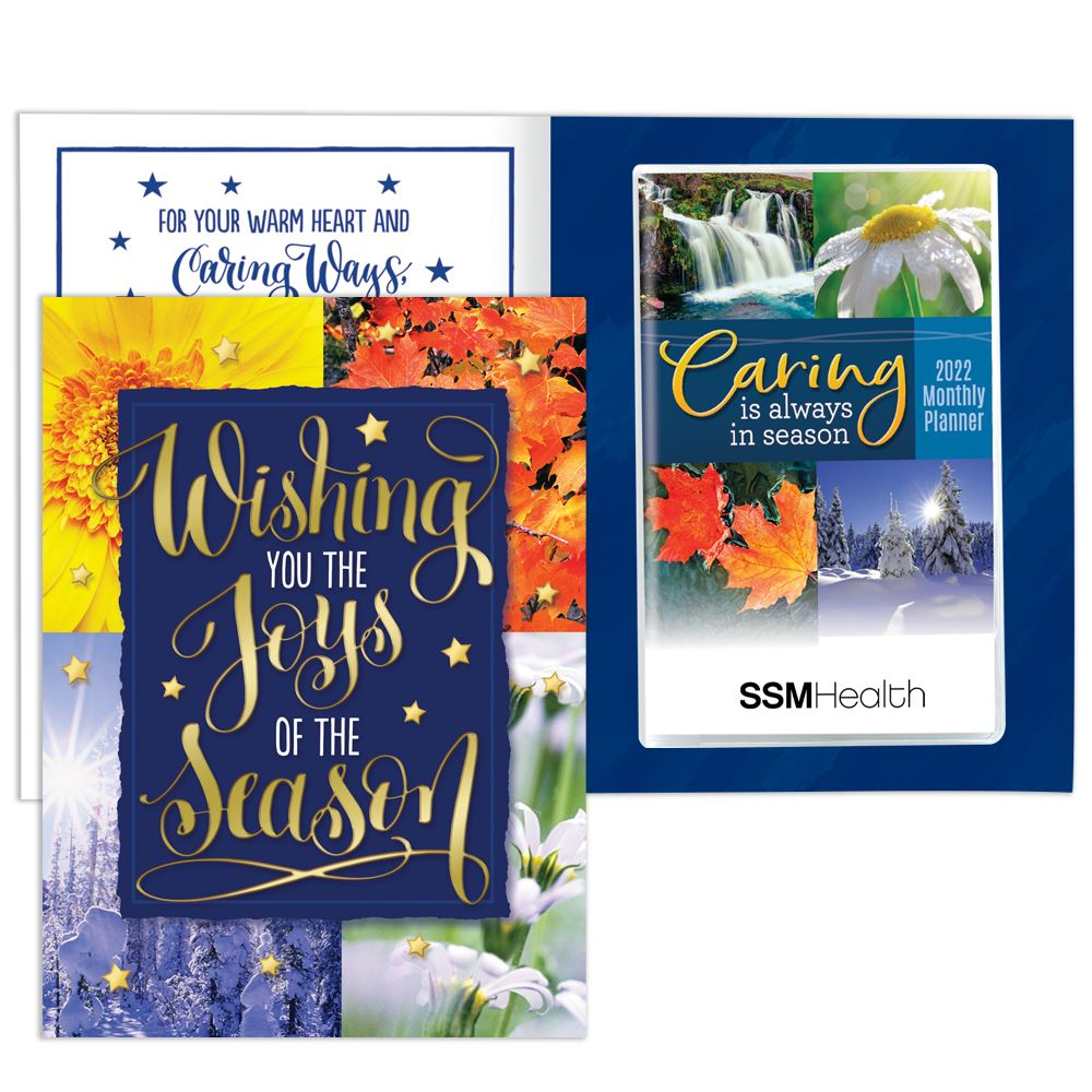 Wishing You The Joy Of The Season Greeting Card With 2022 Caring Monthly Planner - Personalization Available