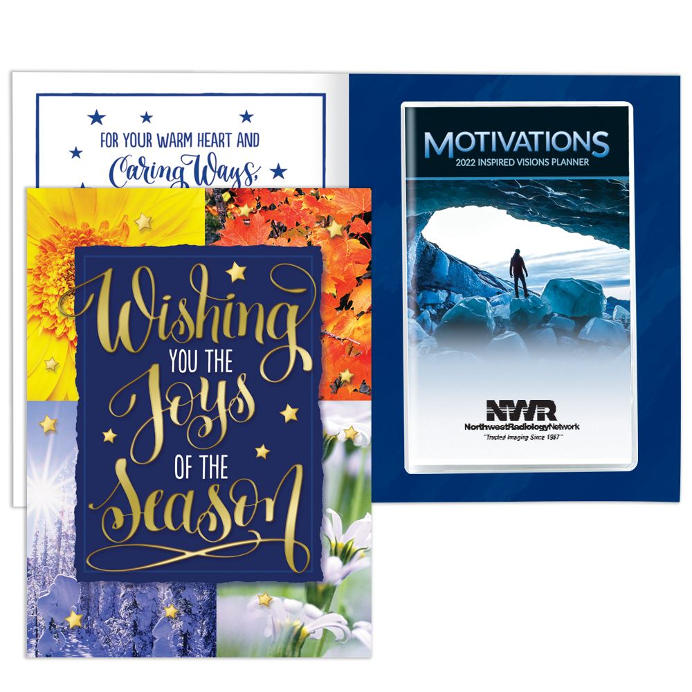 Wishing You The Joys Of The Season Greeting Card With 2022 Motivations Monthly Planner - Personalization Available