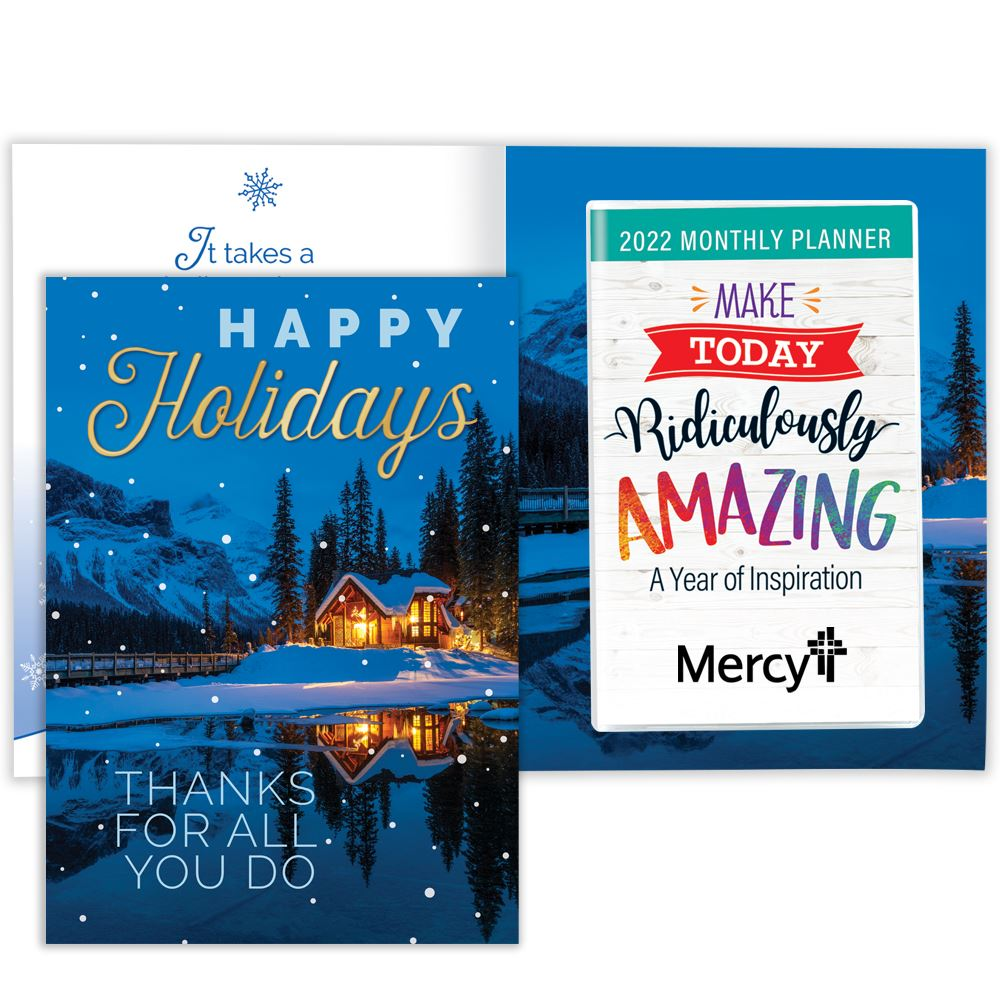 Happy Holidays: Thanks For All You Do Greeting Card With 2022 Amazing Monthly Planner - Personalization Available