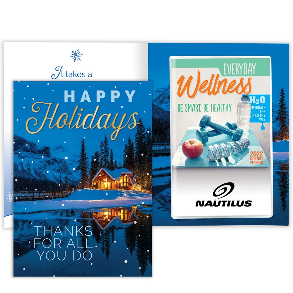 Happy Holidays: Thanks For All You Do Greeting Card With 2022 Everyday Wellness Monthly Planner - Personalization Available