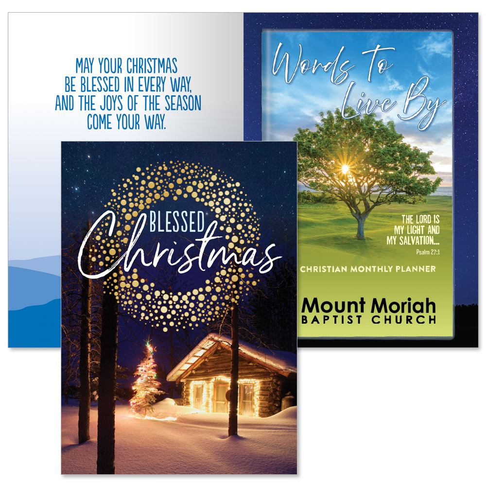 Blessed Christmas Greeting Card and 2022 Words To Live By Calming Tree Sunset Gift Set - Personalization Available
