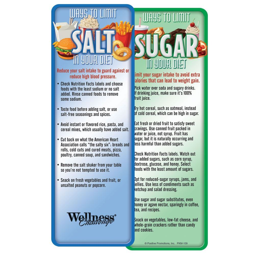 Ways To Limit Sugar & Salt In Your Diet Bookmark - Personalization Available