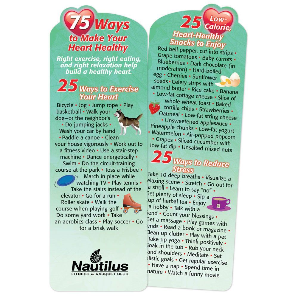 75 Ways To Make Your Heart Healthy Deluxe Die-Cut Bookmark - Personalization Available
