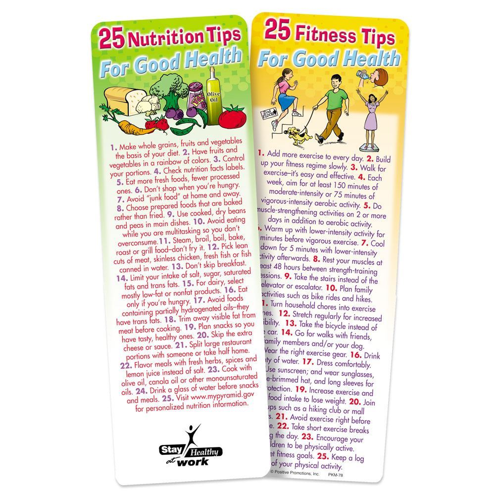 25 Nutrition & 25 Fitness Tips For Good Health 2-Sided