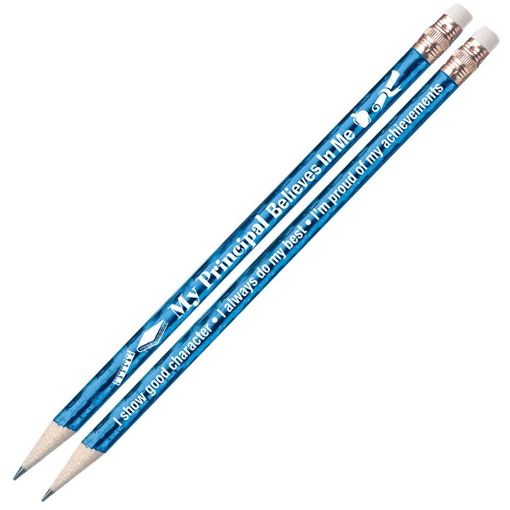 My Principal Believes In Me Blue Sparkle Foil Pencils - Pack of 25