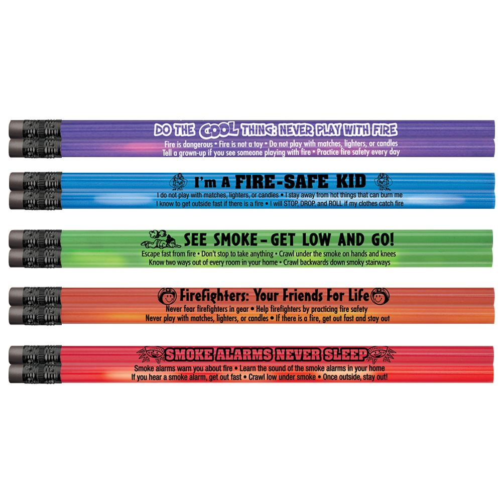 Assorted Colors Heat-Sensitive Pencil Assortment Pack With Fire Safety Tips - 100 Per Pack