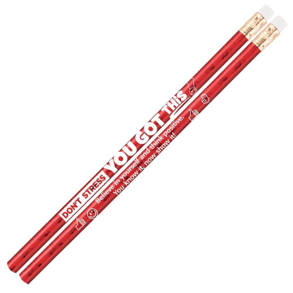 Don't Stress, You Got This! Sparkle Foil Pencils - Pack of 25