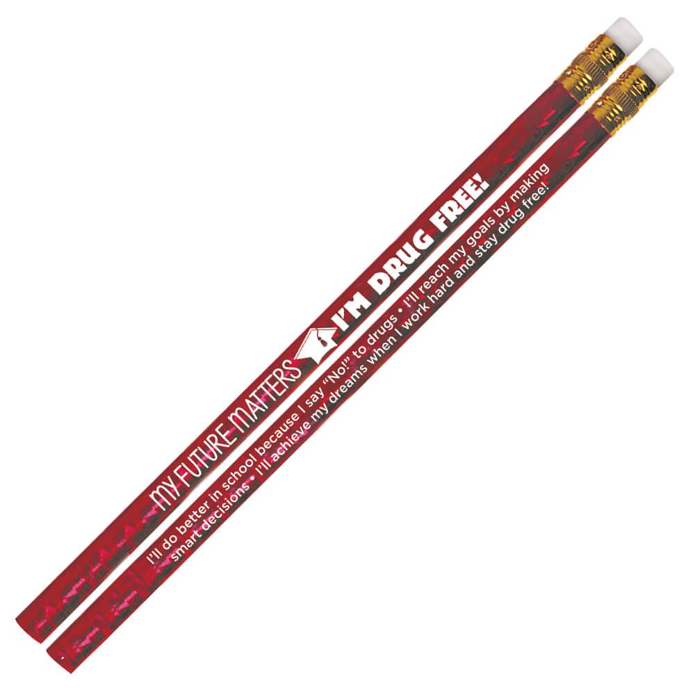 My Future Matters, I'm Drug Free! Red Sparkle Foil Pencils - Pack of 100