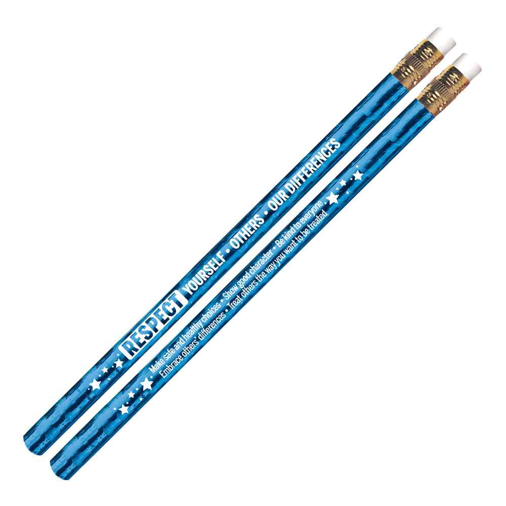 Respect Yourself, Others, Our Differences Blue Sparkle Foil Pencils - Pack of 100