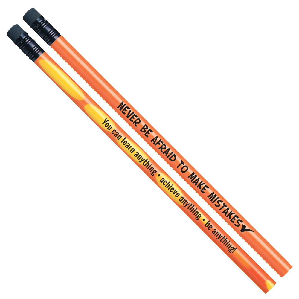 Never Be Afraid To Make Mistakes Growth Mindset Pencils - Pack of 25