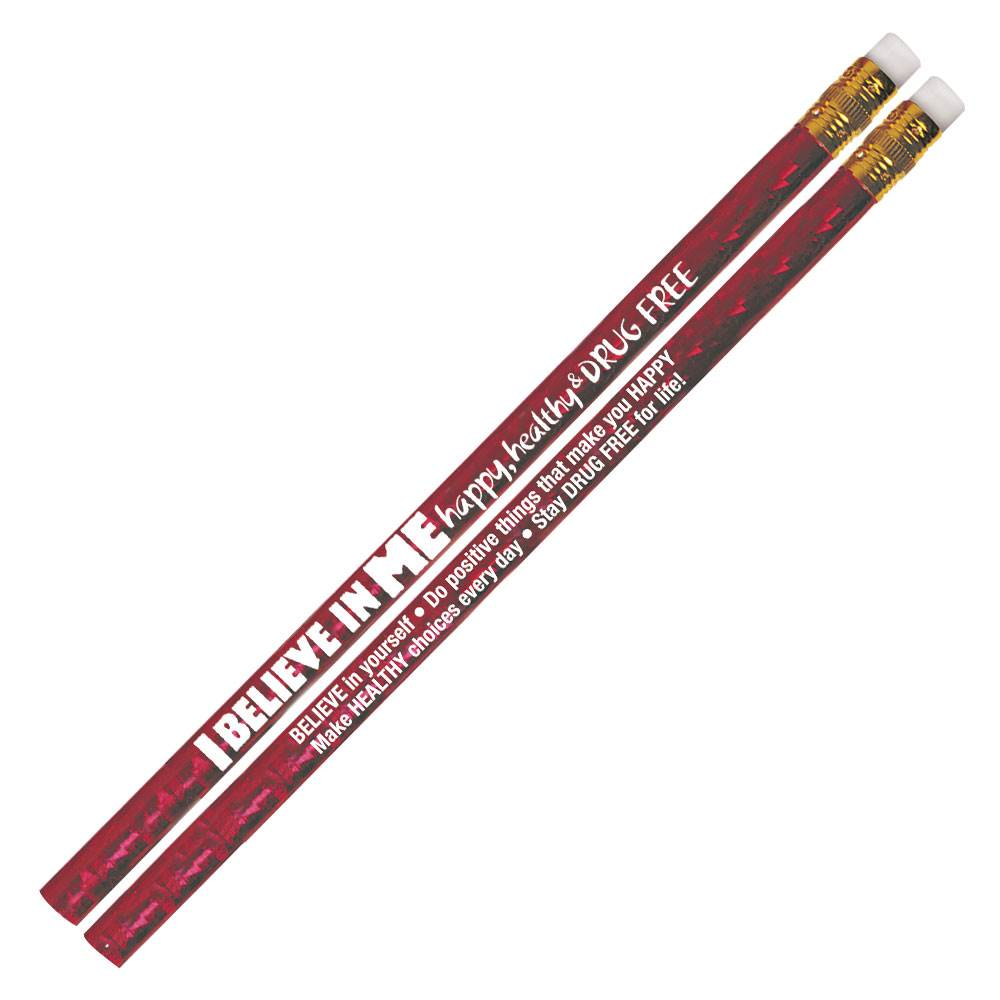 I Believe In Me Happy, Healthy & Drug Free Red Sparkle Foil Pencils - Pack of 100