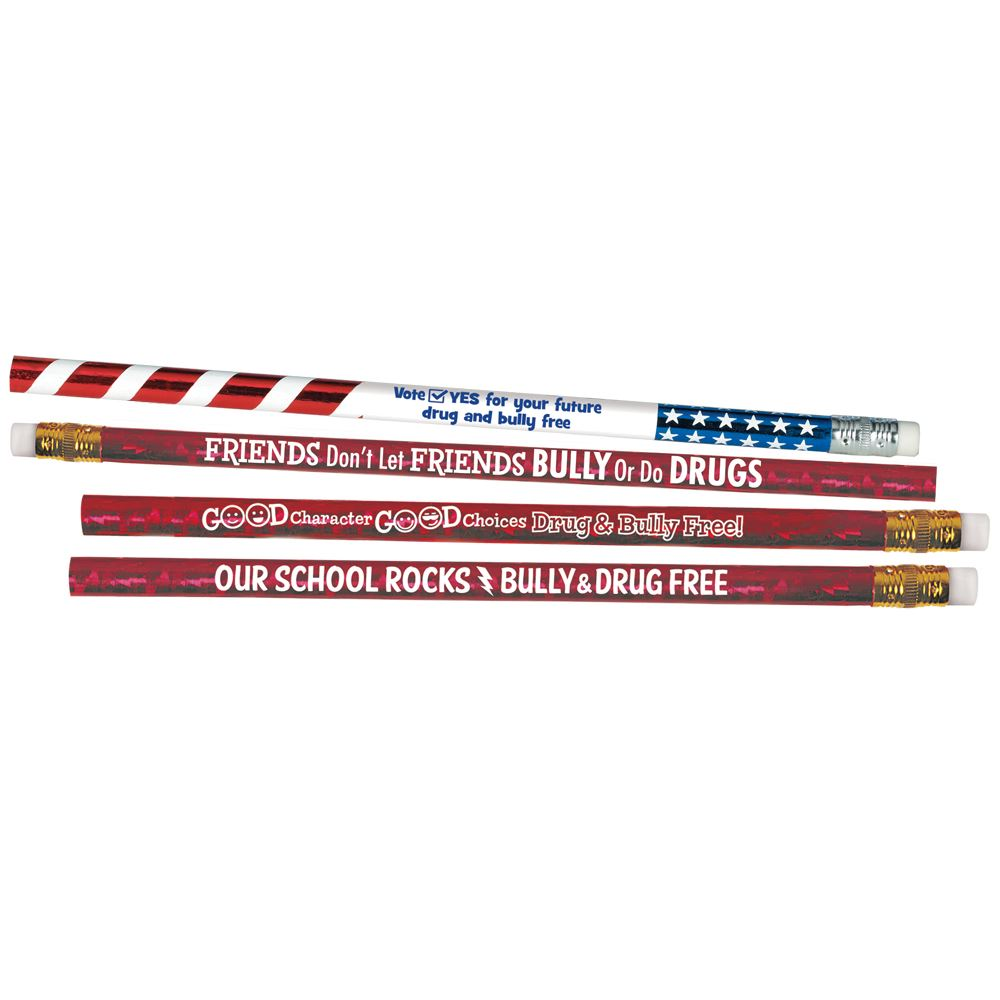 Bully- & Drug Free 100 Sparkle Foil Pencil Assortment Packs